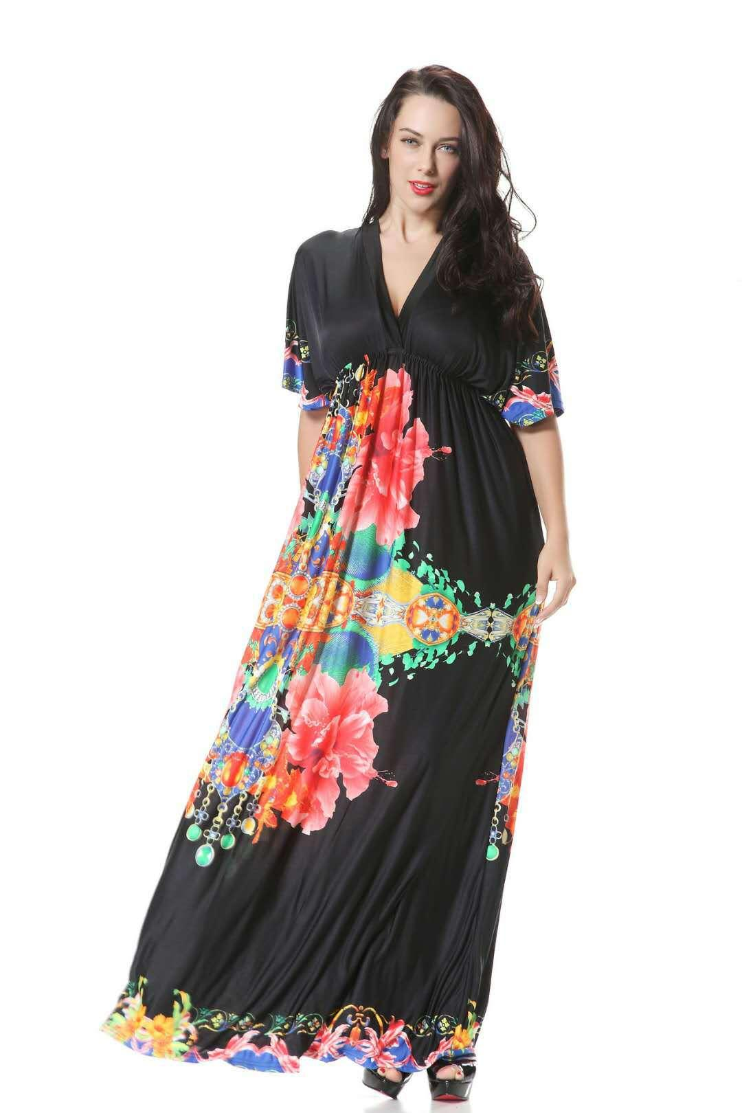 Новый стиль Популярные Super Long Seaside Holiday Beach платье втулки летучей мыши плюс размер льда ткани Soft Silk Flower Printed платье с цепью