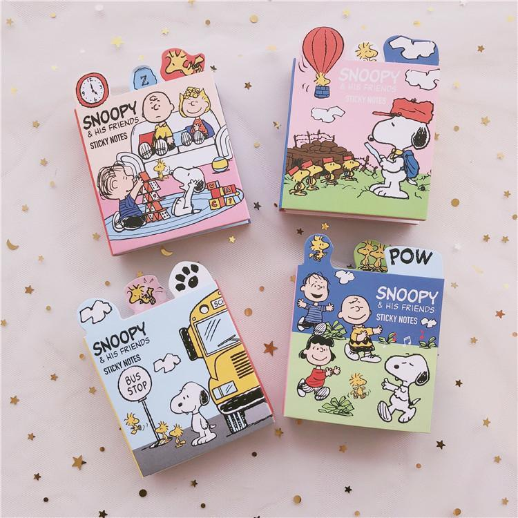 120 Pages Snoopy Cartoon Six-fold Office N Post Note Paper Cute Sticky Notes Planner Stickers Memo Pad Student Stationery