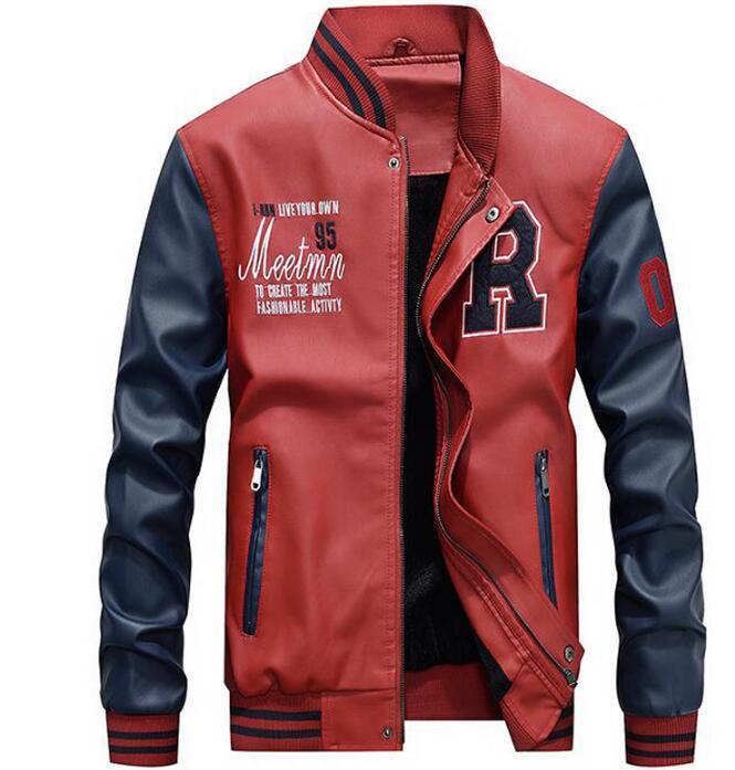 2020 degli uomini di inverno di lusso Bomber in pelle cappotto di cuoio Collegio Moto ricamo Baseball Jackets Faux giacca pilota 3XL