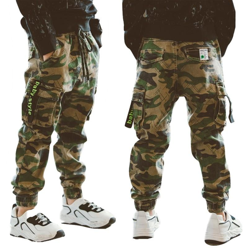 2076 Children's Costume Trousers Summer 2019 New Kids' Camouflage Trousers Boys' Slim Korean 12-year-old Cargo Pants