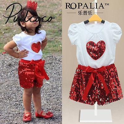 Pudcoco Belle enfants Bébés filles d'été à manches courtes T-shirt + Short Set 2-11years mousseux