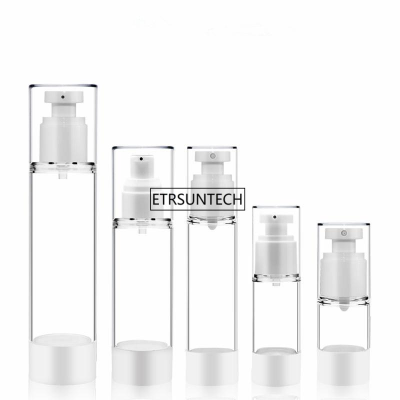 100pcs 15/30/50/80 / 100ml transparente Plastik Airless-Flaschen-Vakuumpumpe nachfüllbare Lotion-Flaschen-Zerstäuber-Duftstoff-Flasche F3589