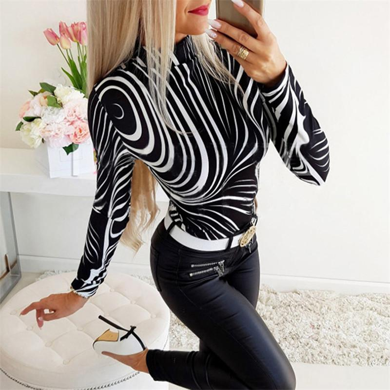 2020 Spring Women Designer Tshirt Fashionable Slim Printing Stand Collar Long Sleeve Skinny Tees Casual Womens Clothing