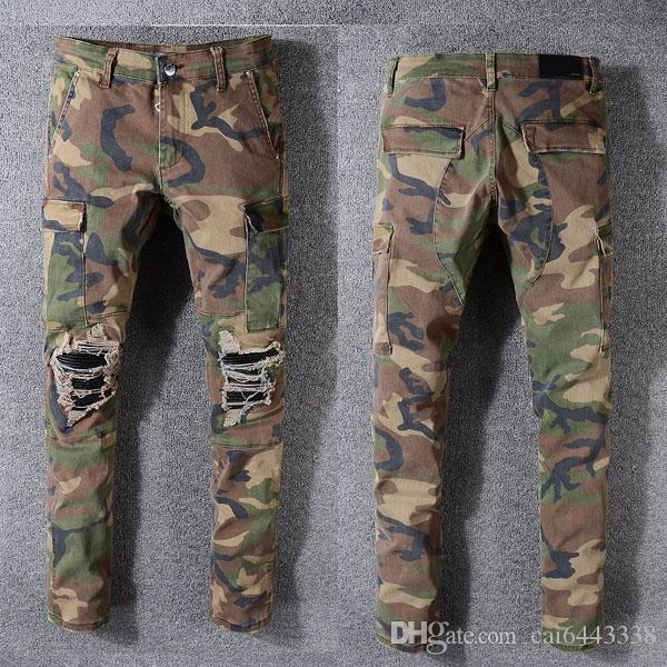 Calças de brim dos homens da moda Pista de Corrida Magro Racer Biker Jeans # 1137 Hiphop Skinny Men Denim Ripped Basculadores Calças Macho Rugas Jean Calças