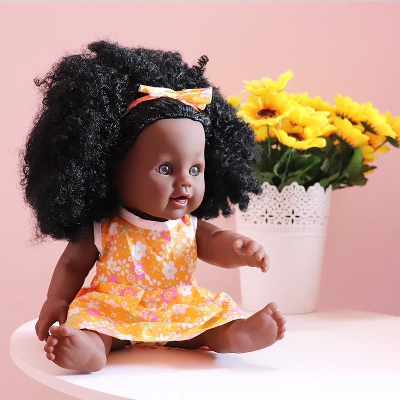 Turuncu Bez ile YARD Bebek Reborn Doll Şişme Siyah Gerçekçi Silikon Reborn Bebekler Kız Çal bebek