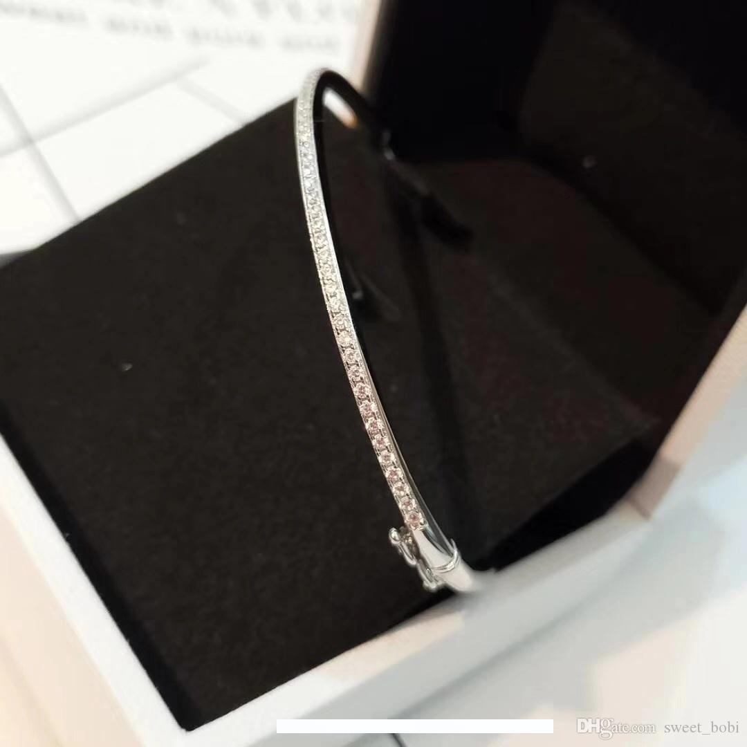 Primavera e verão 2020 nova listagem elipse única linha bracelete de diamantes simples S925 pura prata banhado a ouro anel de diamante pacote pulseira feminina