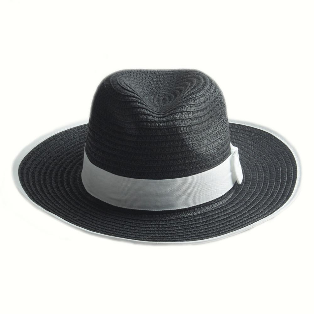 WONNA Unisex Wide Brim Jazz Hat Feather Decor Floppy Wool Fedora Hat Gentleman Sombrero Cap