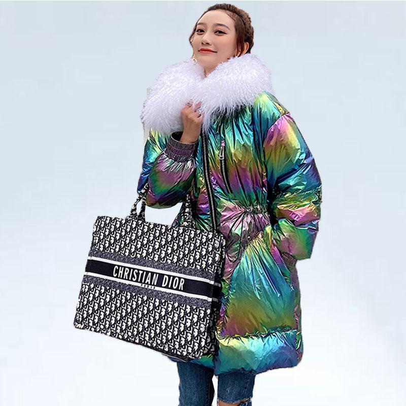 Brand Winter Coat Женщины Luxury большой меховой воротник теплый Parka 2019 Trend Metal Градиент Цвет Негабаритные Белая утка вниз куртка Женщина T191030