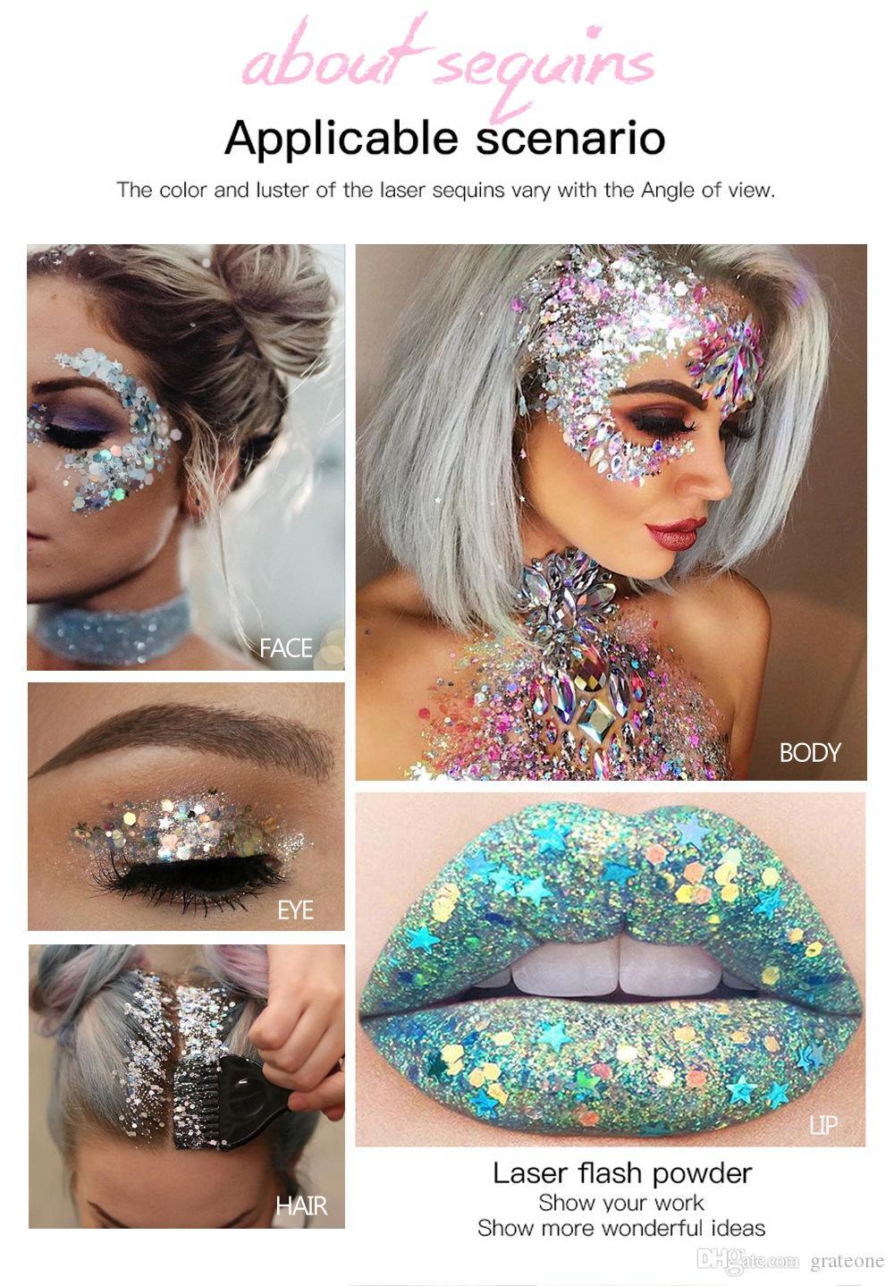 DHL free HANDAIYAN BRONZERS Holographic Mermaid Glitter Eyeshadow Gel Body Face Eye Liquid Loose Sequins Pigments Makeup Cream Festival Gems