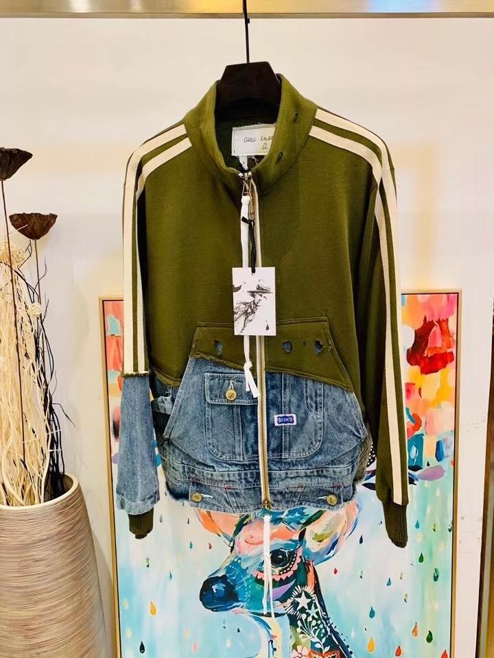 2020 зима новый дизайнер моды мужской джинсовой Сращивание куртка ~ US SIZE куртка OVERSIZE ~ топы качества дизайнера высокой куртки для мужчин
