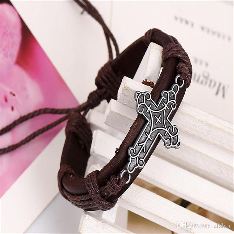 2019 New Fashion Vintage Simple Classic Christian Cross Jesus Charm Bracelets For Women Men Brown Cowhide Genuine Leather Rope Jewelry Gifts