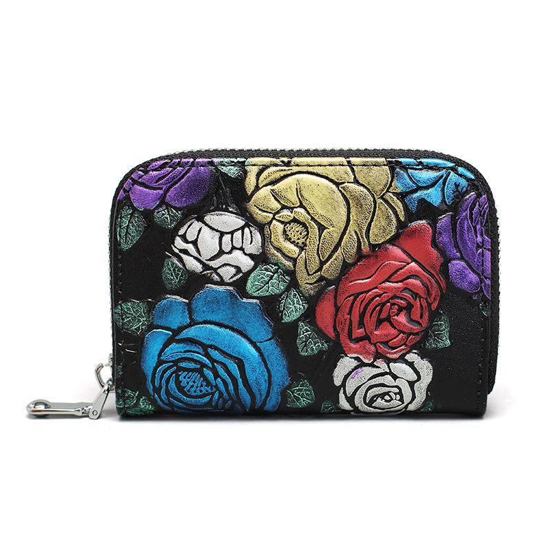 Femmes portefeuilles Personlity Retro en cuir véritable broderie Floral Zipper Clutch Mini titulaire de la carte Porte-monnaie Carte de crédit Carteras