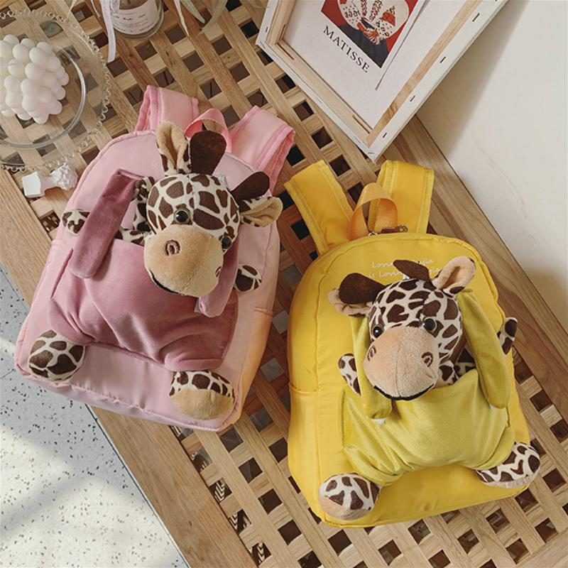 Lovely Children Nylon Mini Backpack Cute Plush Deer Toy Kids Double Shoulder Bags Kindergarten Boy Girls Kawaii Backpack Mochila