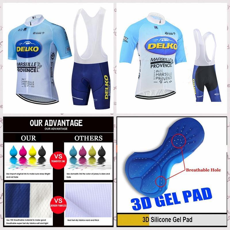 команде Delko летом с коротким рукавом задействуя Джерси нагрудник шорты Комплекты Горный велосипед Одежда дышащий на открытом воздухе спортивная одежда A6163