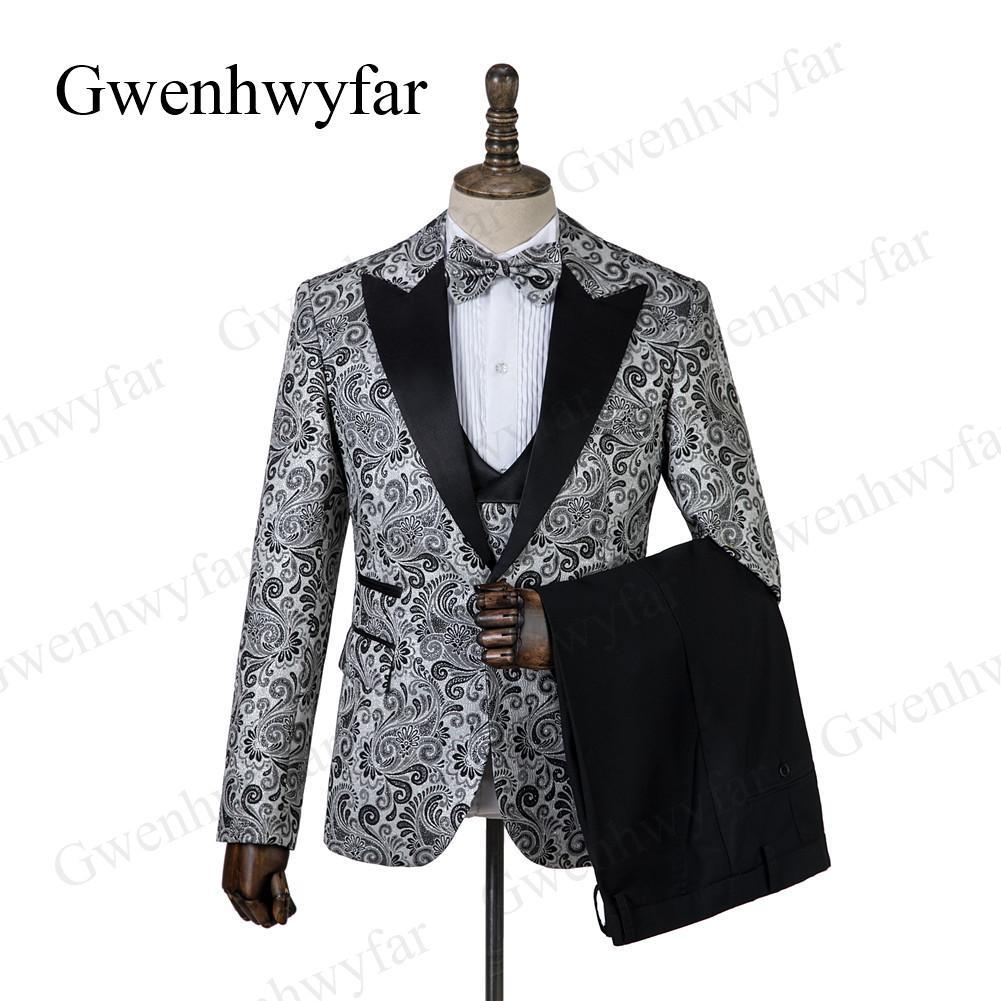 Gwenhwyfar Custom 3 шт. Мужские костюмы Щепка Серый жаккардовый Slim Fit Свадебные костюмы Жених и смокинги для свадьбы (куртка + брюки + жилет)