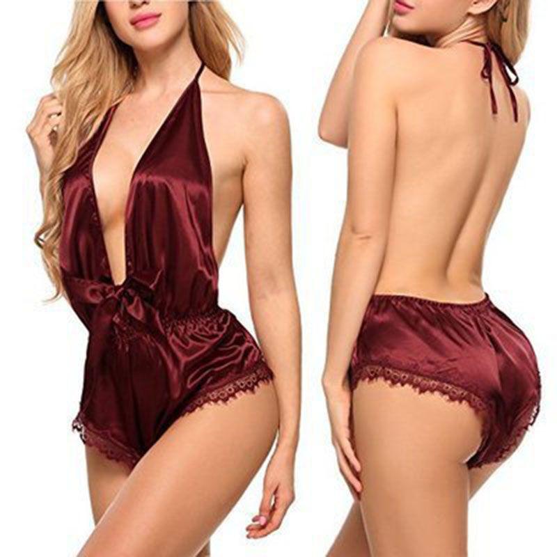 Kadınlar pijamalar Sexy Lingerie Dantel Bow Nighwear Bayanlar Uyku Bodysuit Sexy Sling Pijama Kadın V Yaka İç 050805