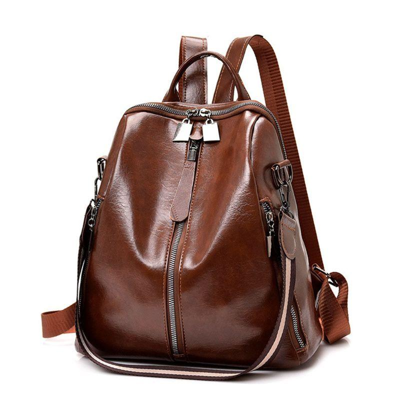 Women PU Leather Backpack Casual Anti-theft Rucksack Shoulder Bag