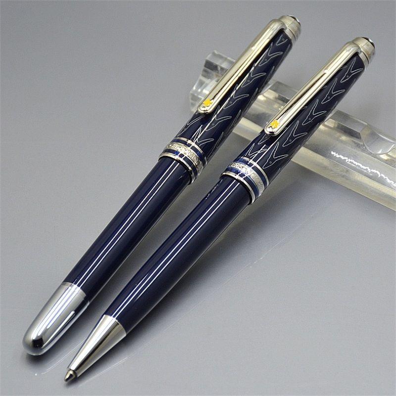 Luxe Petit Prince Bleu foncé résine bille roulante stylo Stylo bille Stylos des fournitures scolaires de bureau avec l'Allemagne MB Carving Numéro de série