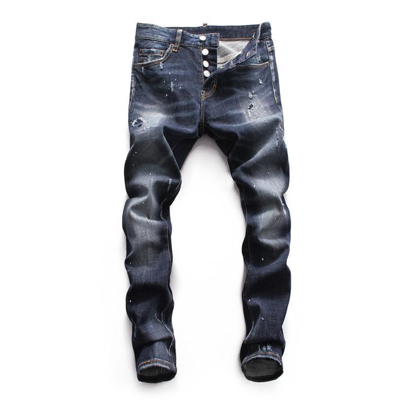 elásticas jeans de moda cráneo embriodery 2020 Top de los hombres de calidad vierten Hommes diseñador de los hombres pantalones vaqueros de marca famosa de ajuste delgado para hombre pantalones de chándal de diseño