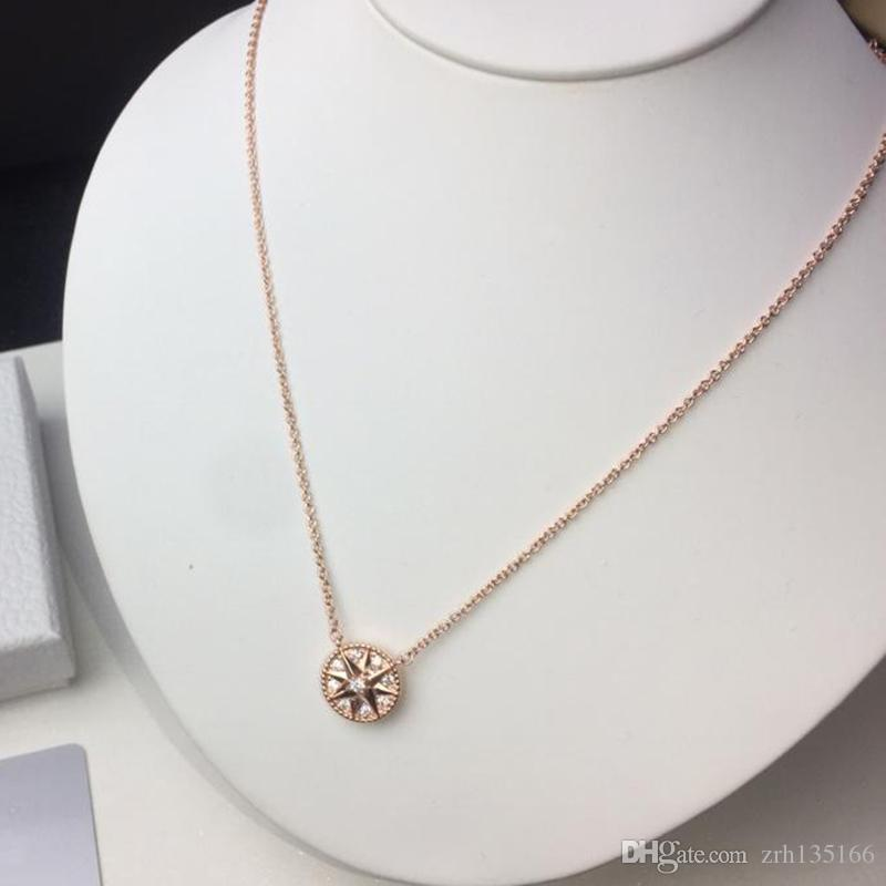 ارتفع الذهب 925 ثمانية وأشار نجم حشيشة الحجل البوصلة قلادة قلادة للنساء مصمم الأزياء والمجوهرات للمرأة