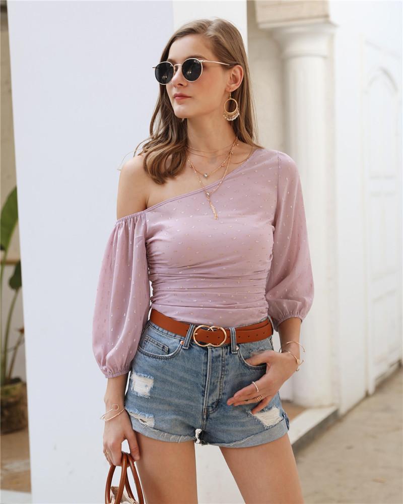 Sexy Ladies Slash Neck T Shirt Fashion Femmes Pure Color manches longues T-shirts occasionnels vêtements féminins en mousseline de soie