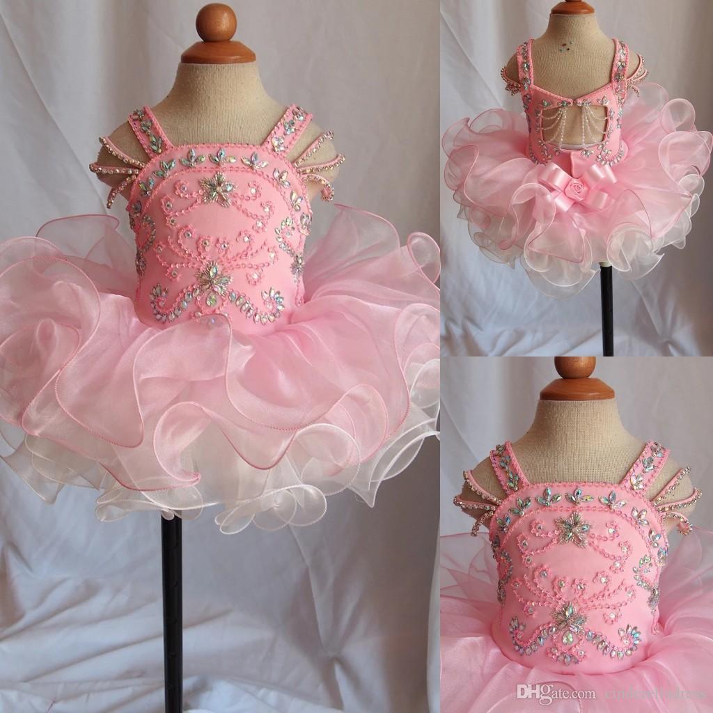 New Rose pâle petite fille Pageant robes col en V fait main fleurs cristaux perles Ruffles longues Puffy robe de demoiselle d'enfants robe de bal