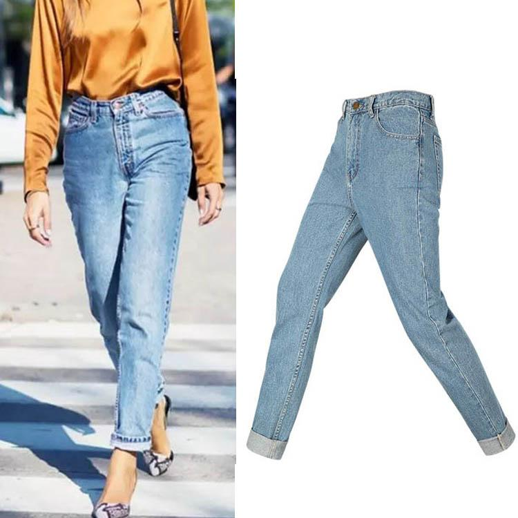 Fashion- Ankunfts-Frauen Luxuxentwerfer Jeans Damen Entspannen Sie sich gerade Jeans Frauen mit hoher Taille Denim-Hosen Fashion Stretch Harem Jeans a101