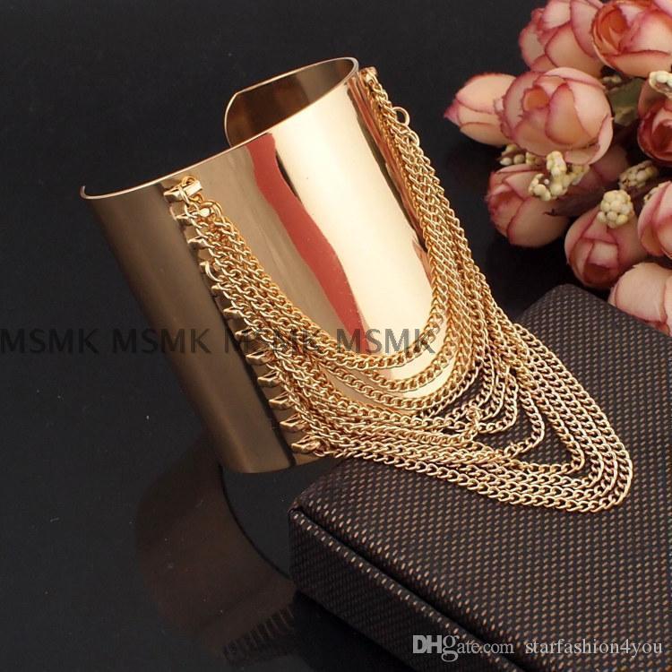 2016 di lusso delle signore delle donne punk discoteche DJ DS esagerato nappa del metallo braccialetti bracciali di braccialetti d'oro