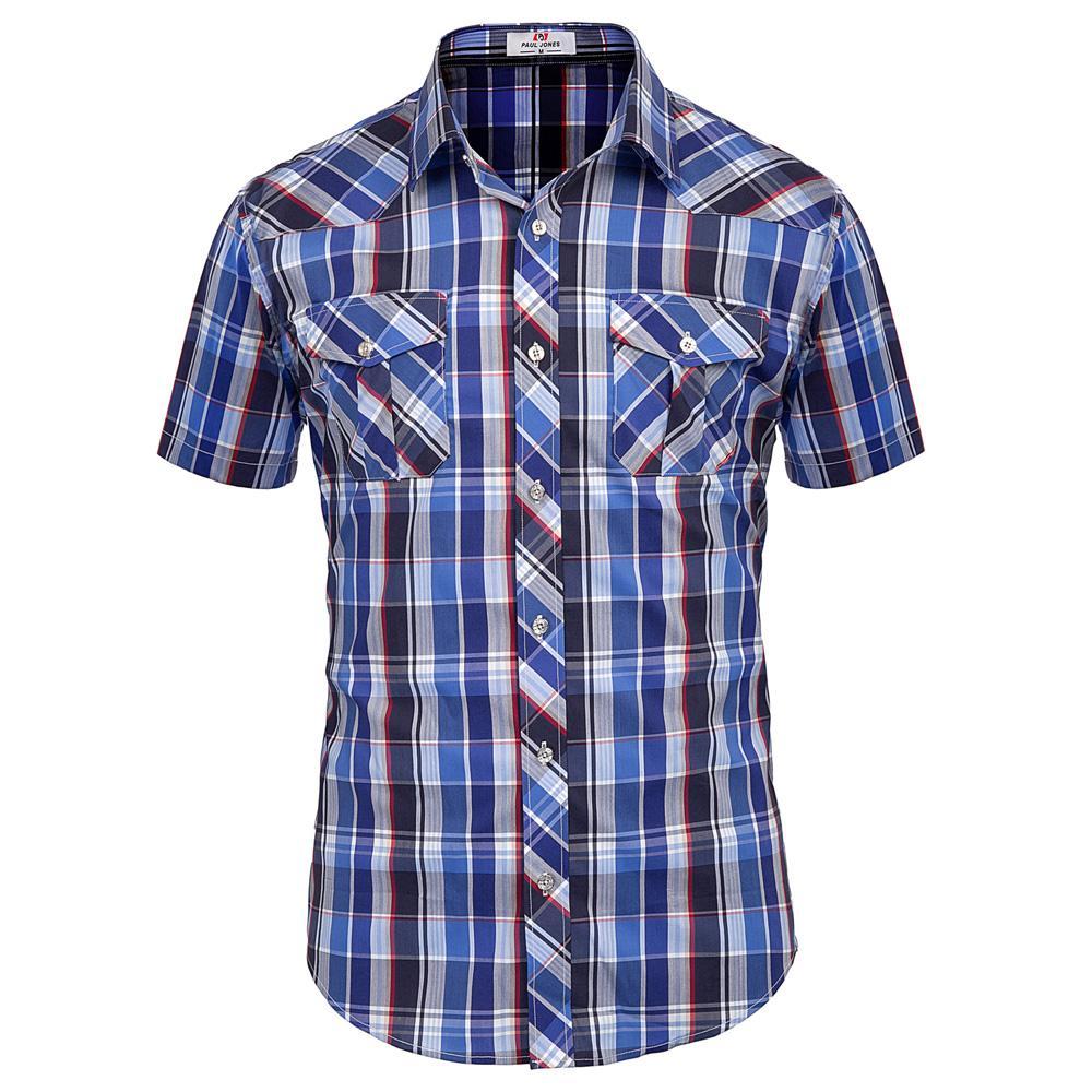 Moda Erkekler Izgara Kontrol Gömlek Kısa Gömlek Casual Kontrol Tasarımcı Tops