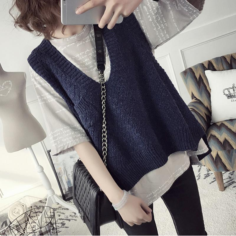 Vintage Korean V-Neck Knitted Sweater Vest Women 2019 Autumn Winter Solid Loose Sleeveless Women Sweater Casual Pocket Pullovers