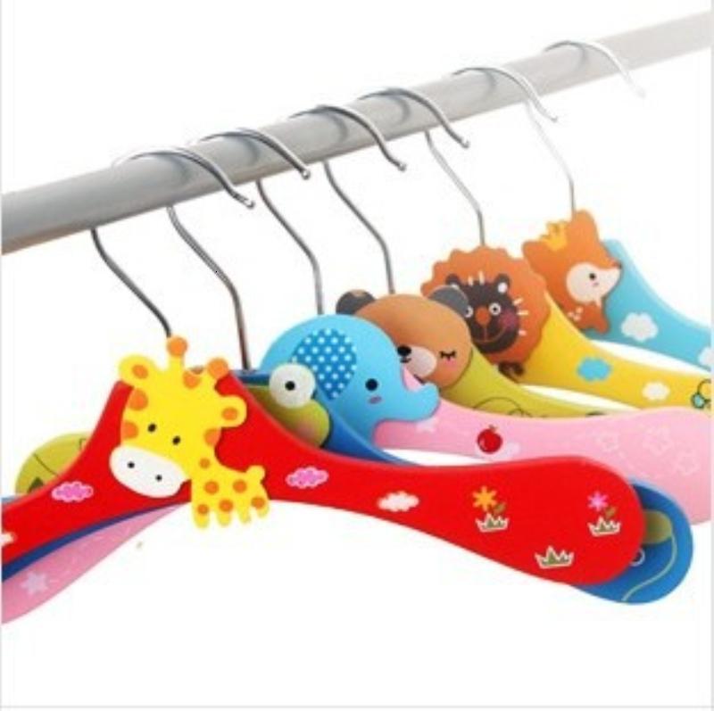 Cheap Cartoon Wooden Hanger Thicken Animal Wood Racks for Children Kids Babies Pegs Dogs 28cm for Home Office Closet Shop Hotel