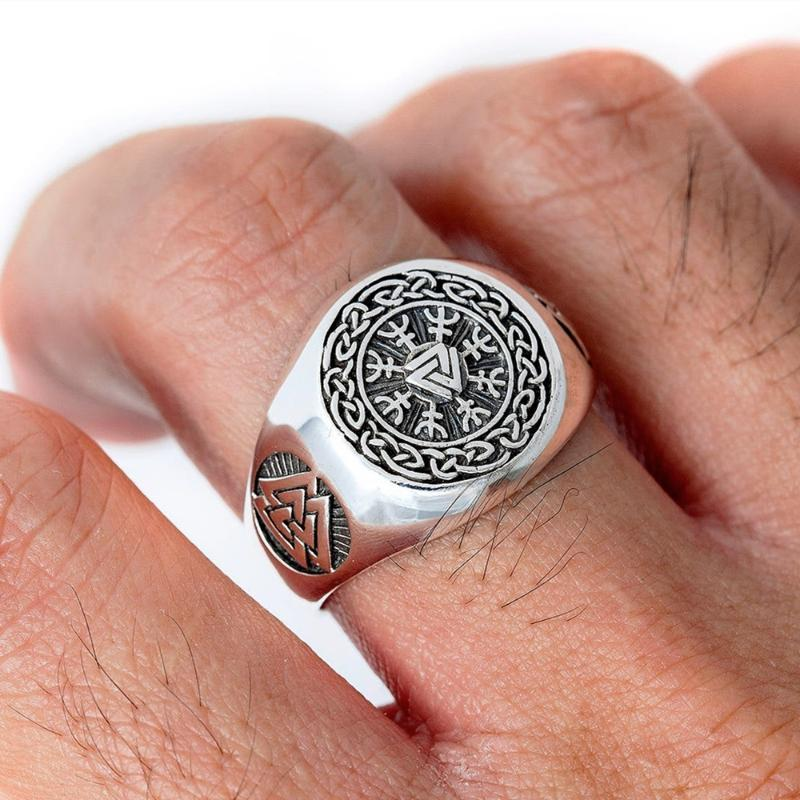 EYHIMD Viking Valknut Helm of Awe Edelstahl-Ring Männer Aegishjalmur Odin Icelandic Runes Celtics Knoten Schmuck Amulett Geschenk