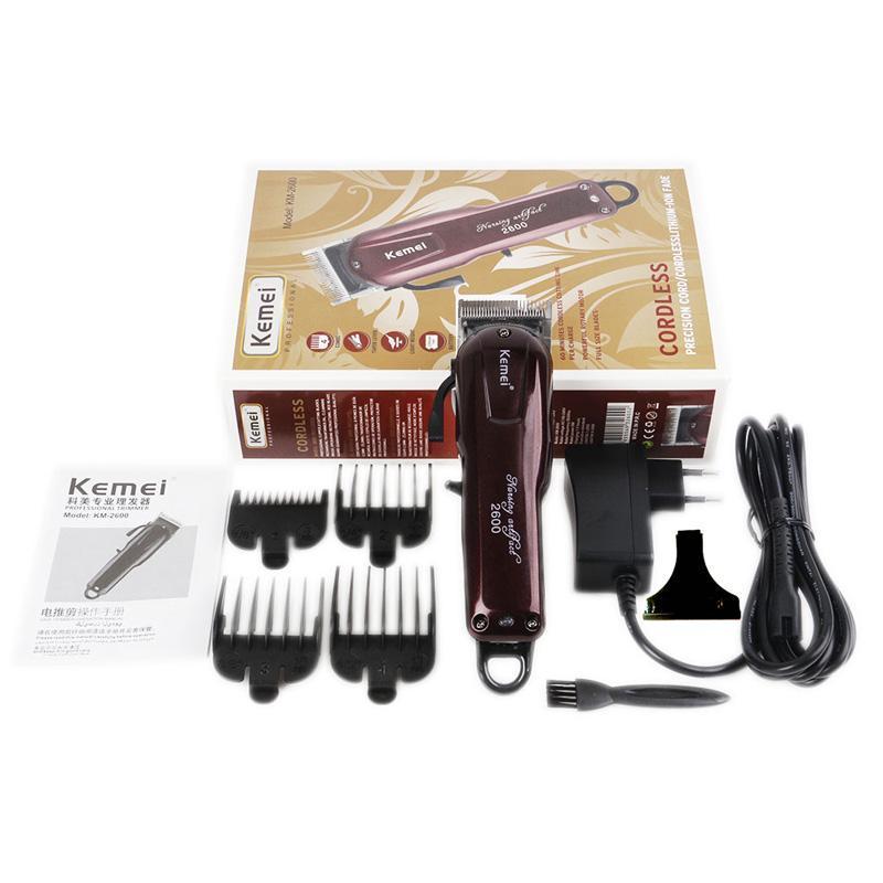 Kemei 2600 Professional cabelo elétrica aparador de barba Shaver 100-240V do cabelo recarregável Clipper Titanium faca de corte de cabelo máquina KM-2600
