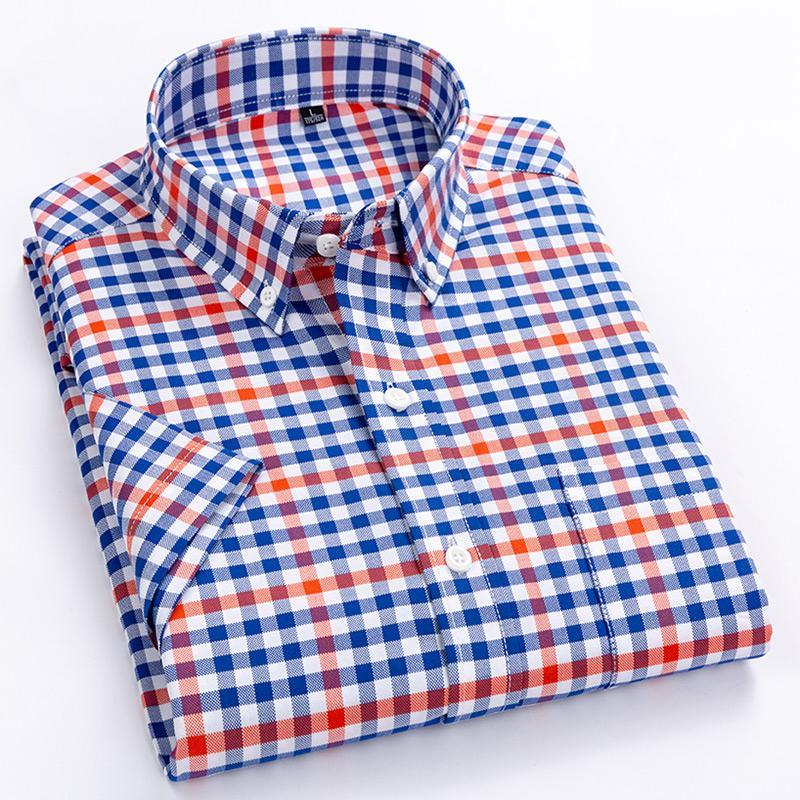 Casual manches courtes Checkered hommes Chemises ajustement standard d'été mince et souple 100% coton boutonné Robe à carreaux Chemise à rayures CX200618