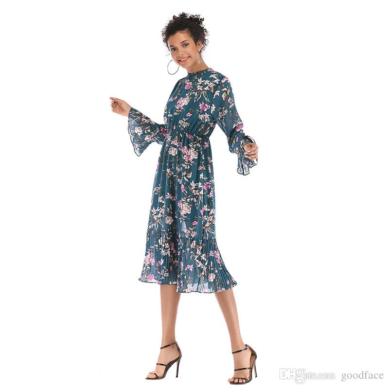 in stock Summer Floral Print Chiffon Dress Fitted Waist Flare Bell Sleeve Pleated Women Fashion Vacation Midi Dresses