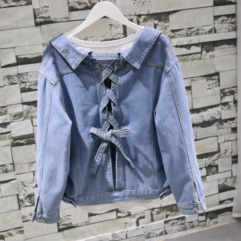 Крупногабаритные Джинсовая куртка женская одежда 2019 Джинсы куртка Короткие Осень корейских пальто женщин куртки Весте Femme Jean 8018 # KJ2353