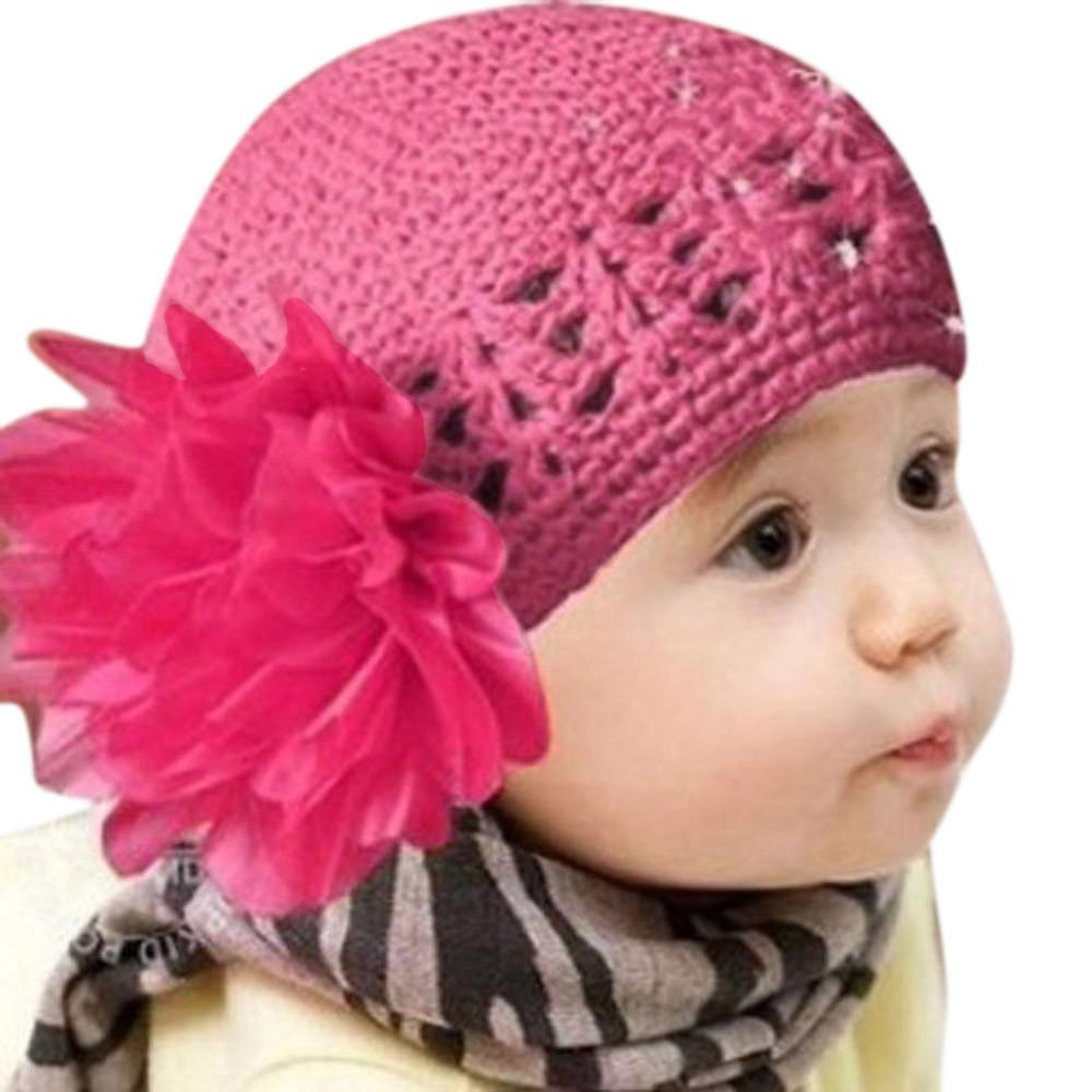0-3T Baby Hat Newborn Big Flower Knitted Crochet Beanie Toddler Infant For Girls Boy Knitted Winter Kid Cap Dropshipping 122