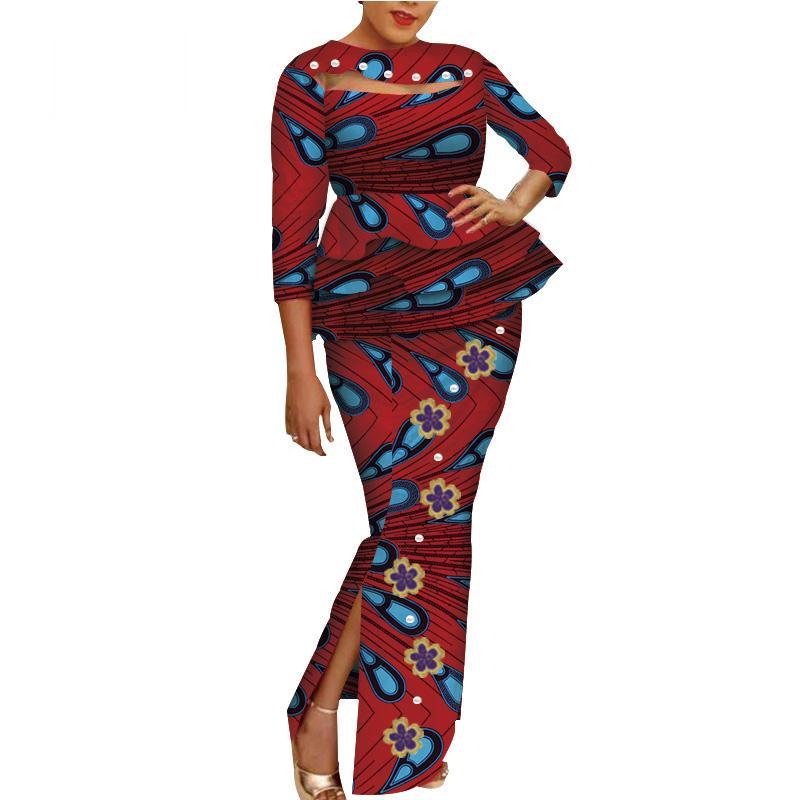 Impressão de cera africana Duas peças conjunto bazin riche bordado flor pérolas pérolas conjuntos Dashiki Crop top e saia conjuntos WY3698