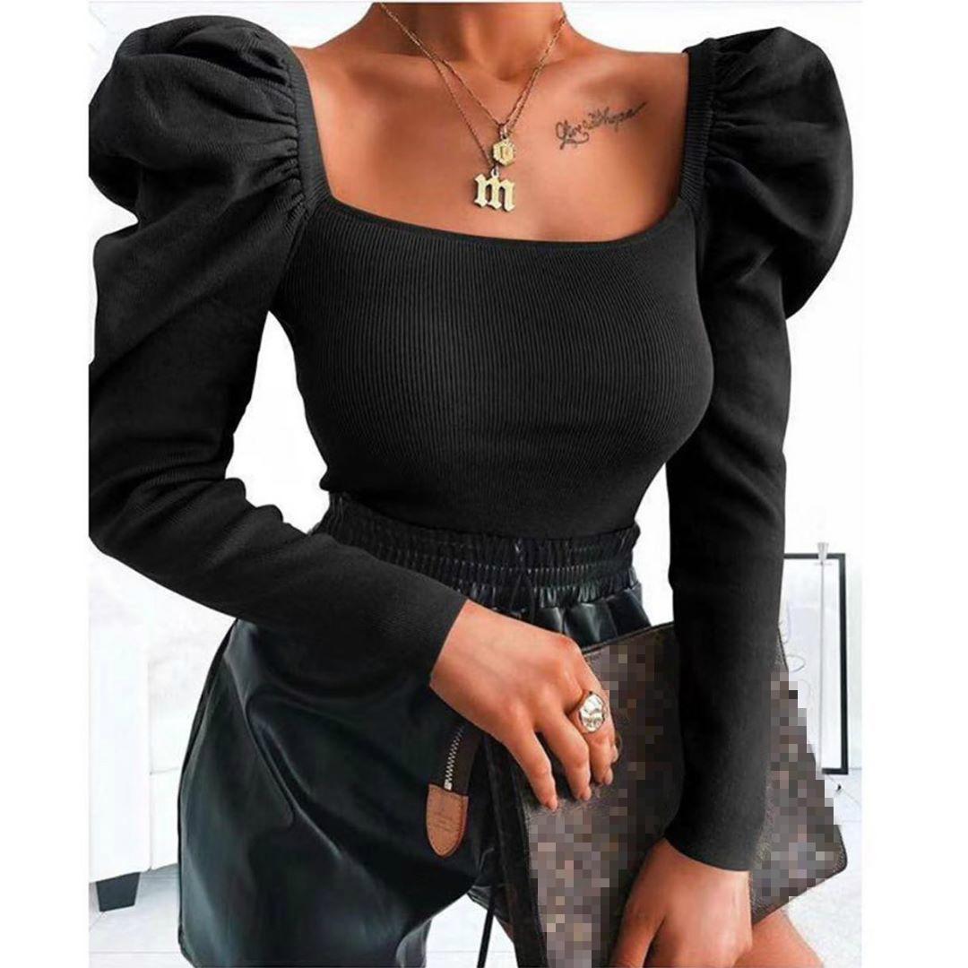 Womens Long PUFFÄRMELN Bluse Sexy Quadrat-Ansatz Schwarz-Damen-Hemd 2020 Frühlings-Sommer-beiläufige oberste eleganter Strick Vintage-Pullover Bluse Tops