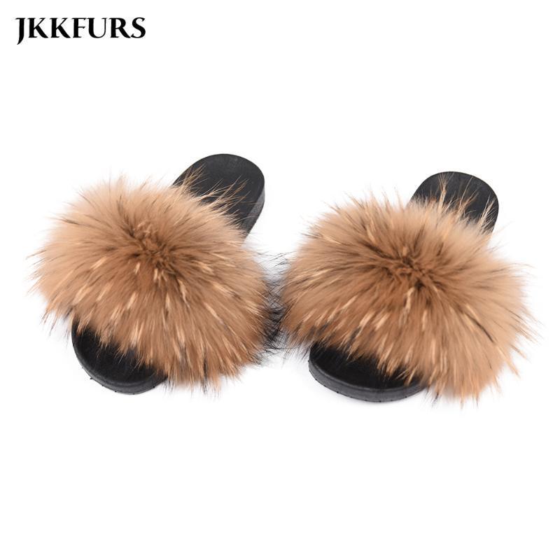 2020 reale pelliccia di procione Pantofole Donne Fashion Style diapositive Primavera Autunno Inverno flip flop coperta piatto S6020