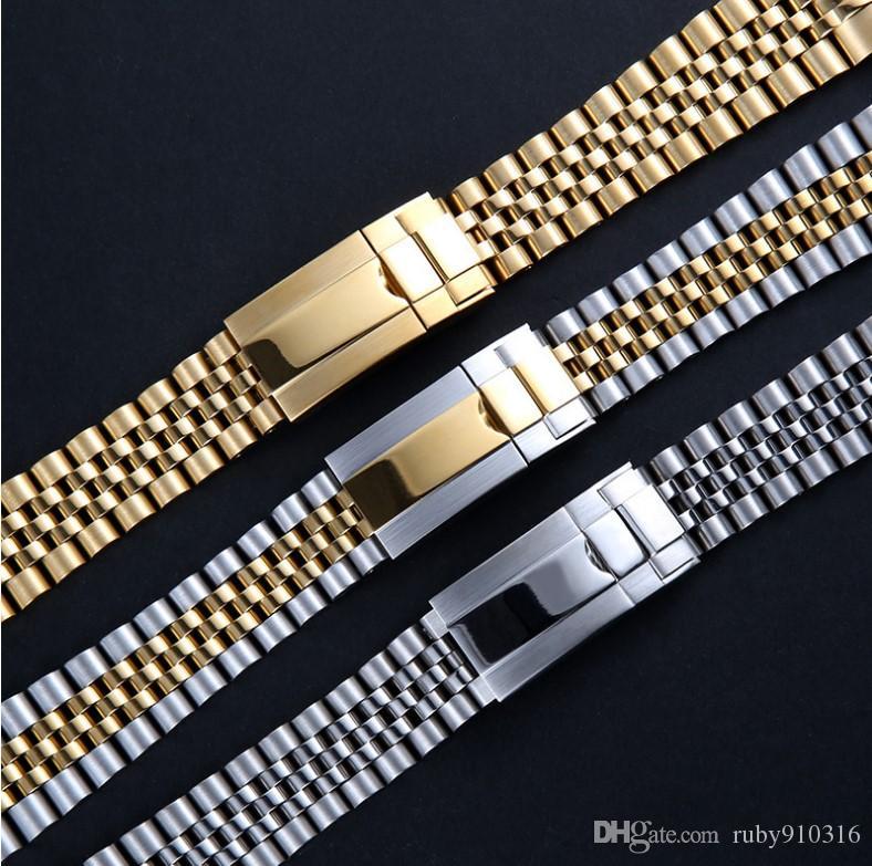 Cinturino 20 millimetri cinturino cinturino in acciaio inossidabile 316L Bracciale Curved End d'argento Guarda Accessori Adatto per gli orologi GMT datejust