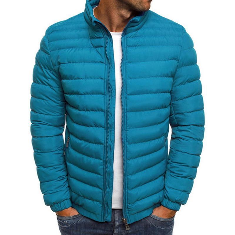 Para hombre de la cremallera calientes ocasionales adelgazan capas de las chaquetas de los hombres de rayas ropa del otoño y del invierno Escudo Parka Hombre Hombres Chaqueta Hombre Invierno