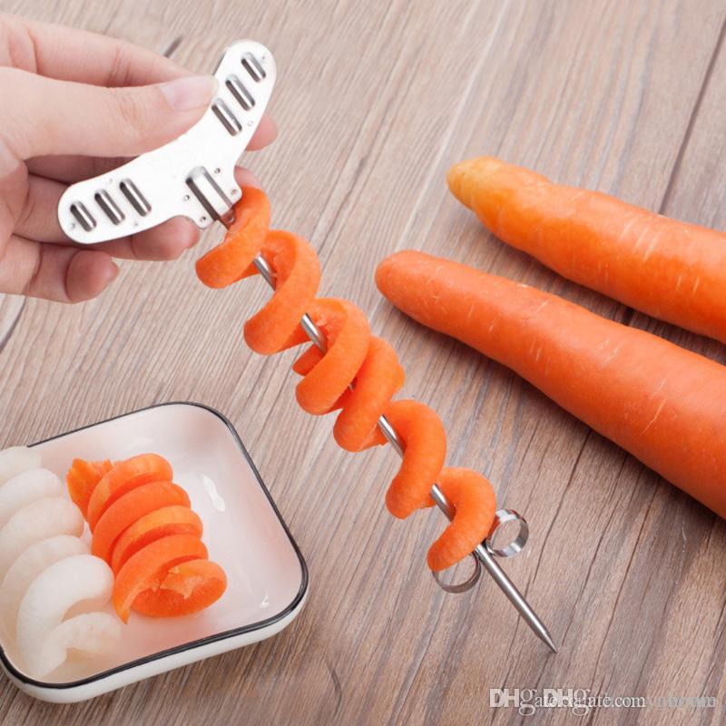 304 Stainless Steel Magic Spiral Coil Machine Manual Vegetable Roller Spiral Slicer Knife Fruit Carving Cutter Kitchen Tool