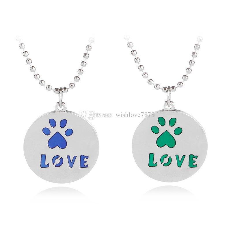 Dog Cat Paw Love Letter Pendant Necklace Best Friends Pet Jewelry for Women Children Free Shipping