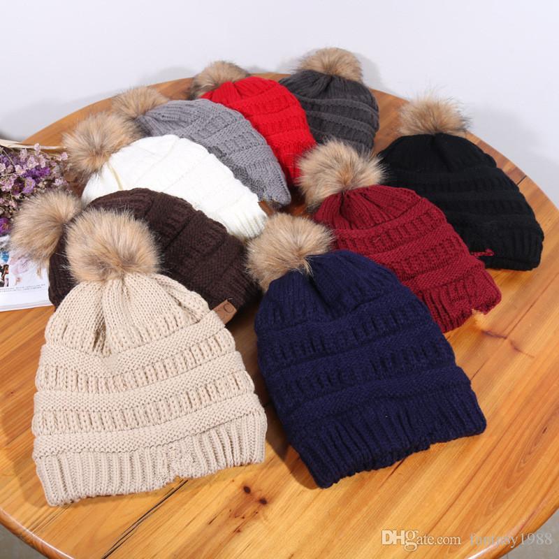 9 Cores Inverno Quente Engrossar Plush Gorros das Mulheres Adulto Malha Caps Tecer Chapéus Meninas Chapéu Ocasional Cap Fora de Esqui Chapelaria