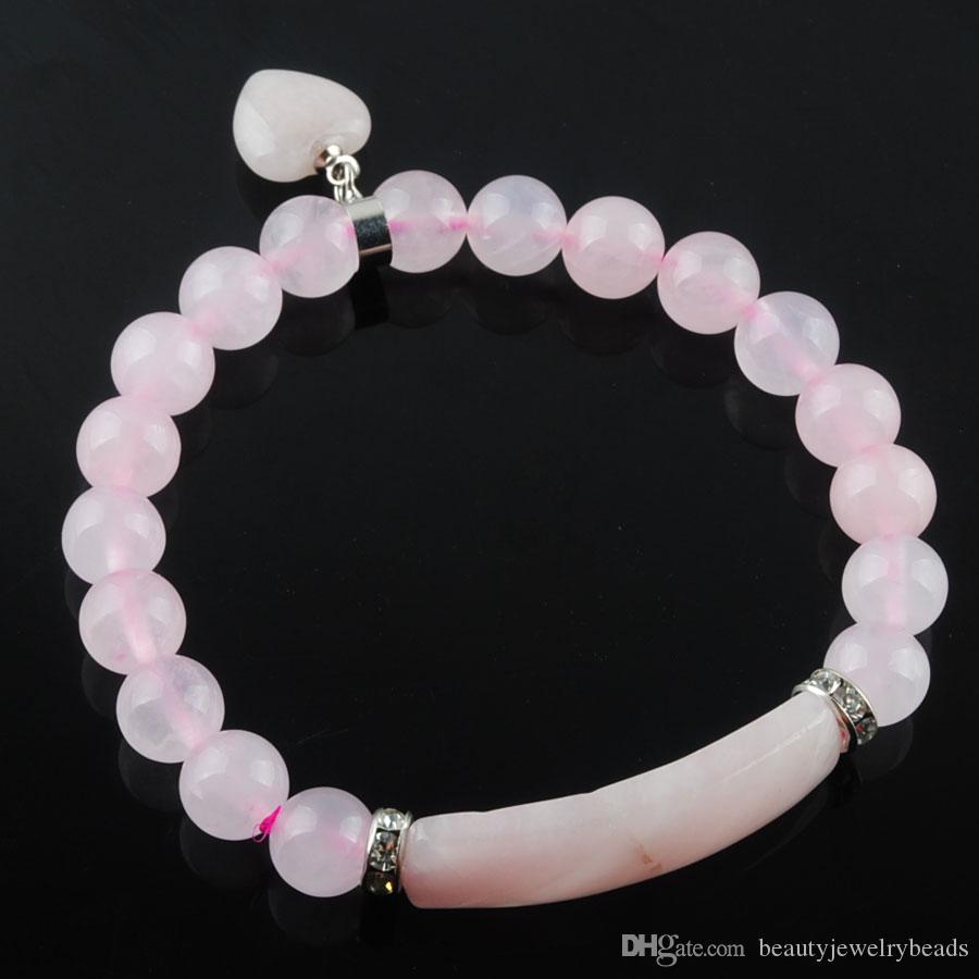 Розовый кварц природных драгоценных камней Stretch Браслеты 8мм круглый бисер Strand браслеты Love Heart Shape Pendulum Подвеска для женщин ювелирные изделия DK3341