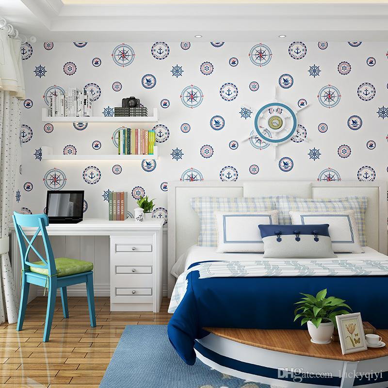 Mediterranean wallpaper modern stylish bedroom background wall thick non-woven sailboat blue circle cartoon wallpaper roll for kids
