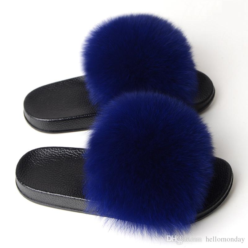 Nature Blue  Women/'s Real Fox Fur Slides Furry Slippers Sliders Sandals shoes
