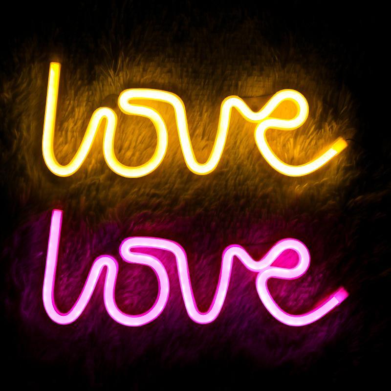 Anniversary Day Sign LED Neon Light Inglês Letters Wedding Party For Love Decoração Neon Lâmpada Valentines Home Decor presente Lamp Noite