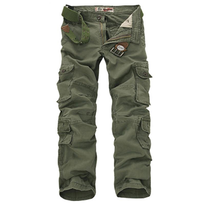 Fashion Military Cargo Pants Men Loose Baggy Tactical Trousers Oustdoor Casual Cotton Cargo Pants Men Multi Pockets Big Size SH190701